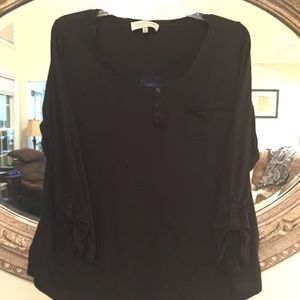 Plus Size Black Long Sleeve Henley